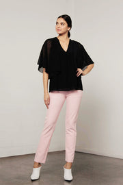 Utopia Dot Flared Top Black