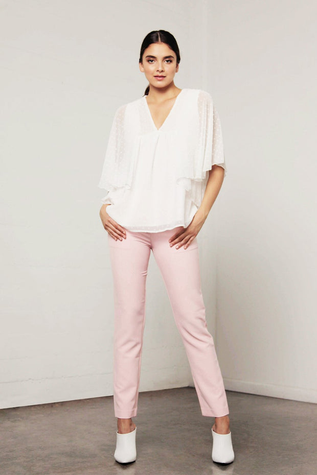 Utopia Dot Flared Top - White