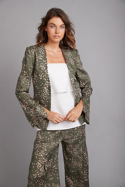 Verona Jacket Wild Print Khaki | shop Elms&King at IKON, Arrowtown, NZ
