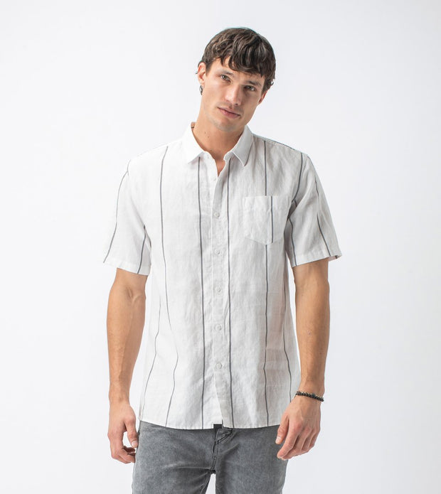 Vice Short Sleeve Shirt Milk/Black | Shop Zanerobe at IKON NZ