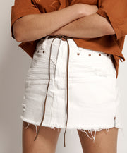 Trucker Mid Waist Skirt - White Beauty