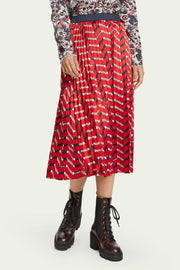 Pleated Midi Skirt - Red Print | Shop Maison Scotch at IKON