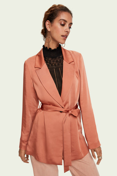 Satin-Feel Belted Blazer - Copper | Shop Maison Scotch at IKON