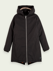 Padded Water-Repellent Parka - Black