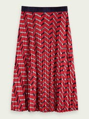 Pleated Midi Skirt - Red Print