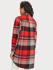 Womens Oversized Checked Overshirt