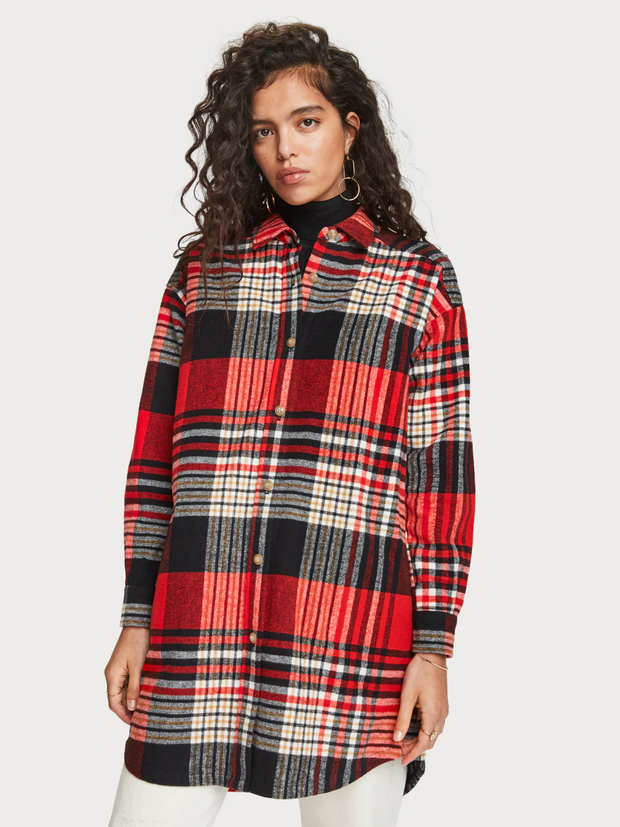 Womens Oversized Checked Overshirt | Shop Maison Scotch at IKON NZ