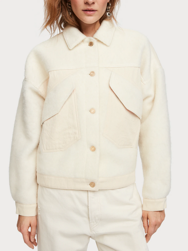 Oversized Wool Blend Trucker Jacket | Shop Maison Scotch at IKON NZ