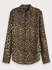 Womens Patterned Crepe Shirt - Animal Print
