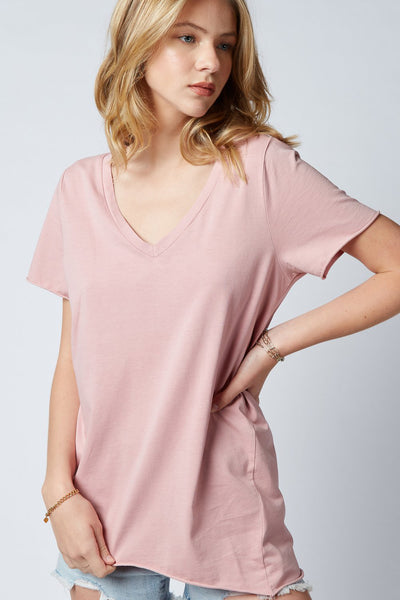 Yenny V-Neck Tee - Dusty Pink | Shop Dricoper at IKON NZ