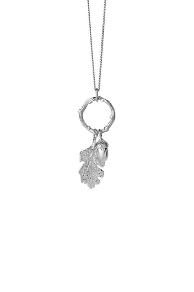 KW Acorn+Leaf Loop Necklace Silver