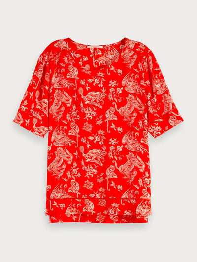 Womens Allover Printed Ladder Top - Red