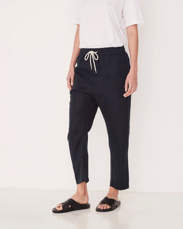 Womens Anya Linen Pant - True Navy