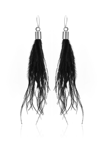 Blown Away Tassel Earrings - Black/Silver