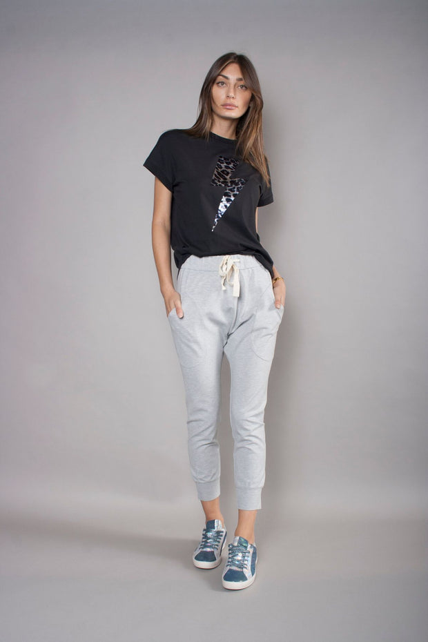 The Relaxed Tee - Black with Leopard Bolt