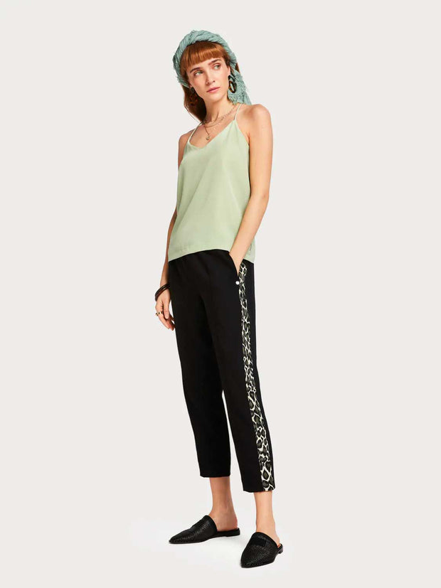 Womens Contrast Trousers - Leopard