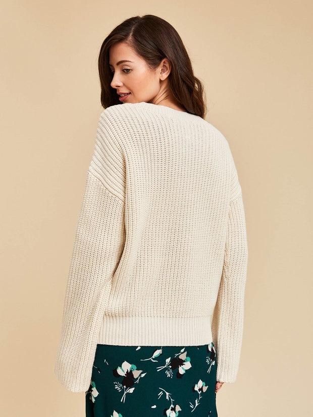 Womens Chunky Rib Knit Pullover - Off White
