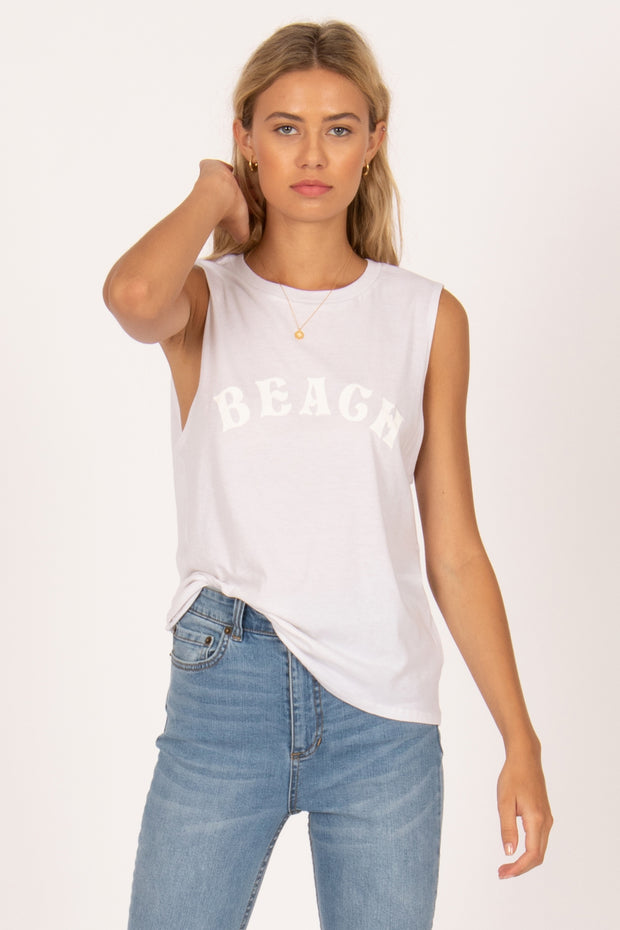 Beach Rat Muscle Tee - Vintage White | shop Amuse Society at IKON, Arrowtown, NZ