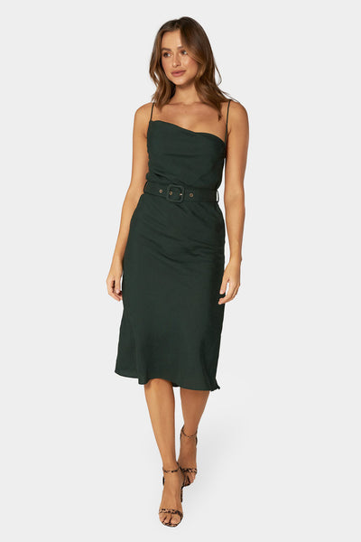 Giselle Linen Midi Dress - Emerald | Shop Apero The Label at IKON NZ