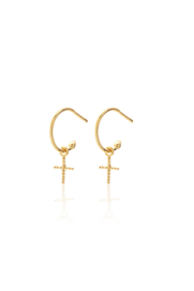 Cross Hoops - Gold | Shop Silk and Steel Jewellery at IKON