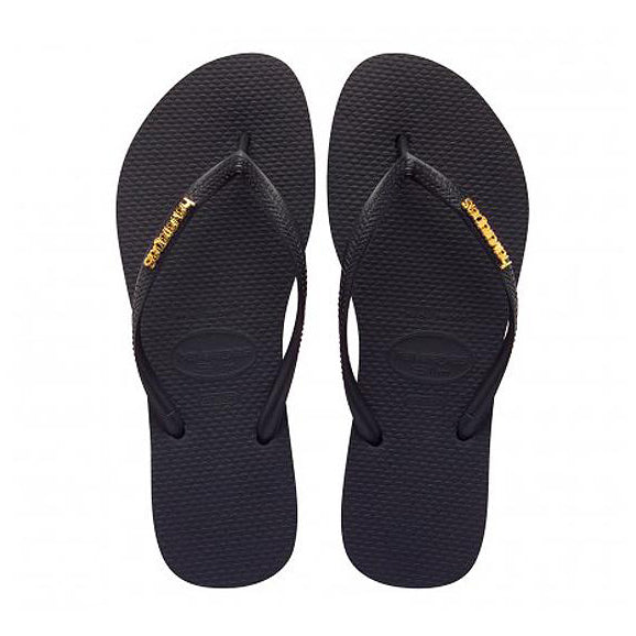 Womens Slim Logo Metallic - Black/Gold