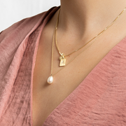 Eila Pi Necklace - White/Gold Plated