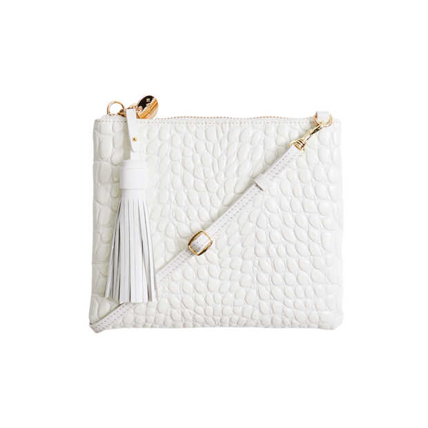 Mickey Clutch - White Croc