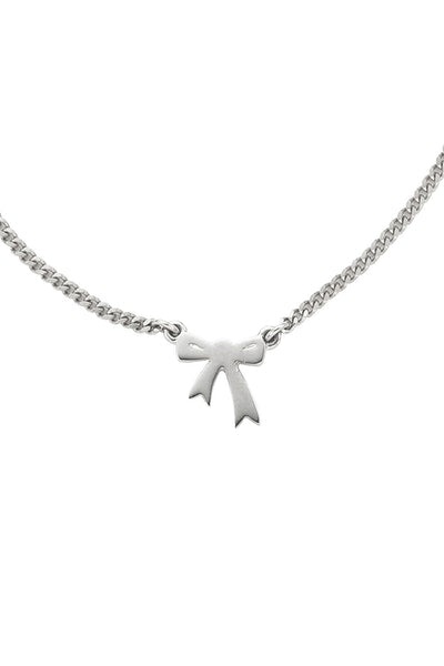 Mini Bow Necklace - Silver