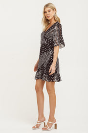 Mosaic Flutter Sleeve Frill Dress