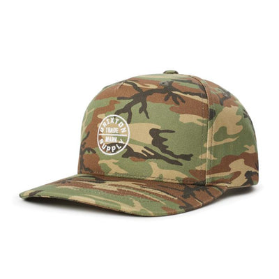 Brixton Oath 110 MP Snapback - Woodland Camo shop online or in store at IKON