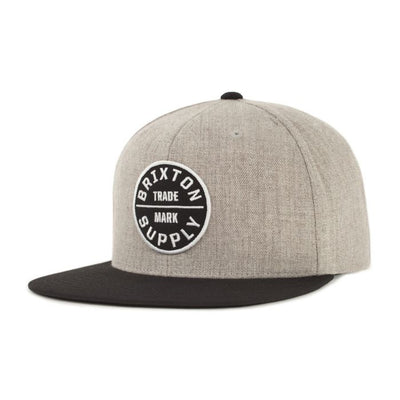 Brixton Oath III Snapback - Heather Grey/Black shop online or in store at IKON