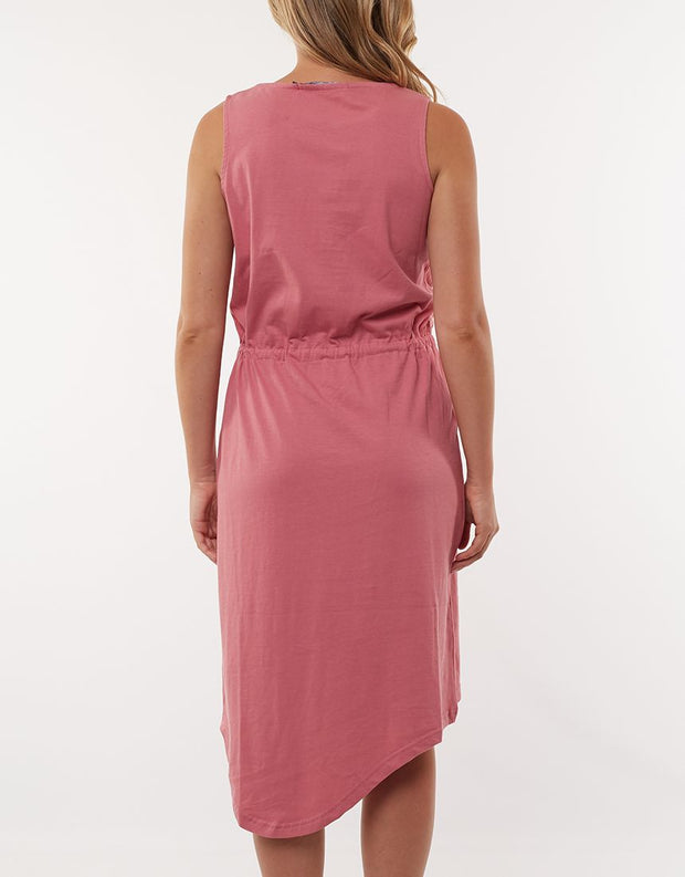 Waisted Midi Dress - Rose