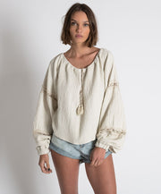 Embroidered Faustian Peasant Top Stone | Shop OneTeaspoon at IKON NZ