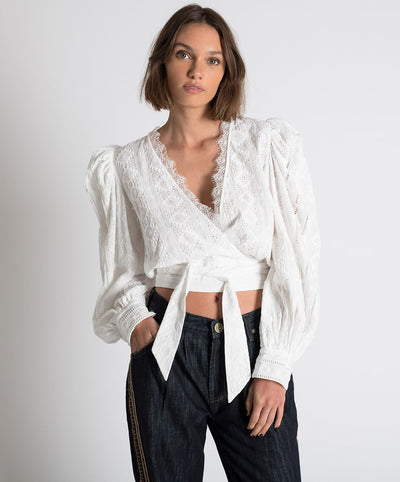 Ethereal Cotton Wrap Top White | Shop OneTeaspoon at IKON NZ