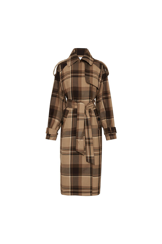 C&M Alto Check Trench - Camel Check