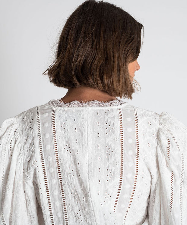 Ethereal Cotton Wrap Top - White