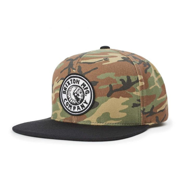 Brixton Rival Snapback - Woodland Camo/Black shop online or in store at IKON