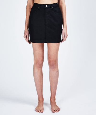 Ksubi Super X Mini Denim Skirt - Grease Black
