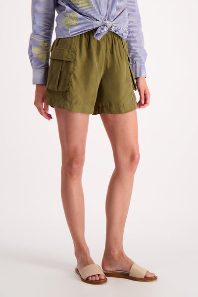 Womens Cargo Shorts - Military Green