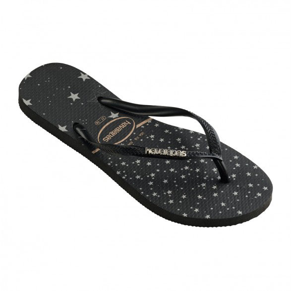 Slim Logo Metallic Star Print - Black/Silver
