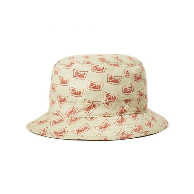 Brixton Stith Bucket Hat - Vanilla/Cardinal shop online or in store at IKON