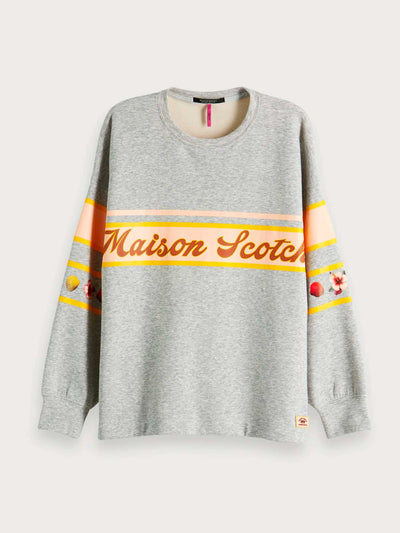 Womens Tropical Artwork Sweater - Grey | Shop Maison Scotch at IKON