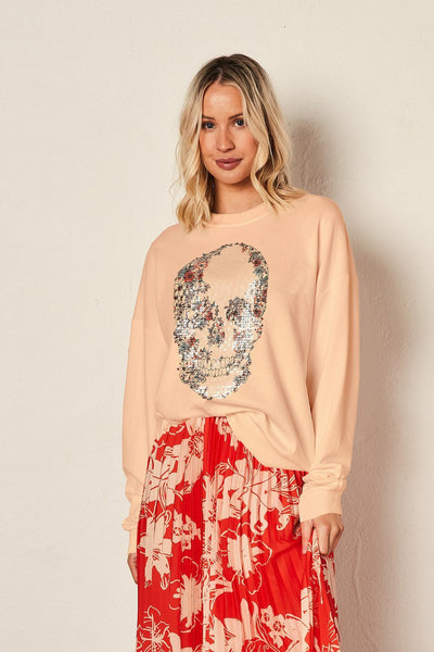 The Vintage Sweat - Floral Skull/Peach | Shop The Others at IKON NZ