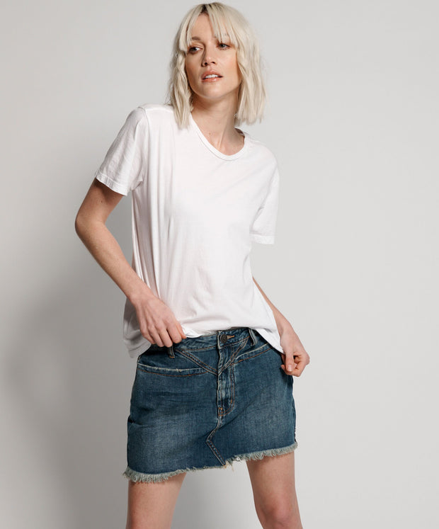 Trucker Mid Waist Denim Skirt - Dirty Indigo