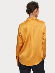 Womens Classic Silk Shirt - Orange Dusk