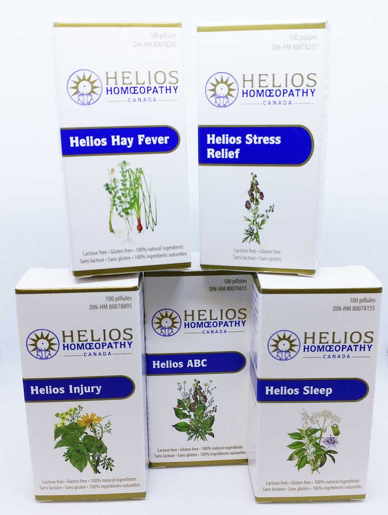 Helios Combination Remedy Sampler: Includes Helios ABC, Hay Fever, Injury, Sleep, and Stress Relief - Save over 10%
