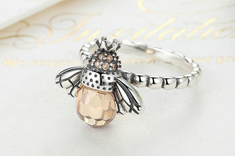 Sterling Silver Pastel Orange Bee Ring