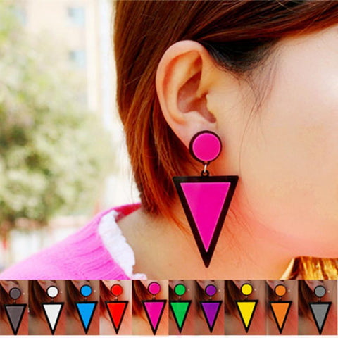 Colorful Fluorescent Triangle Earrings