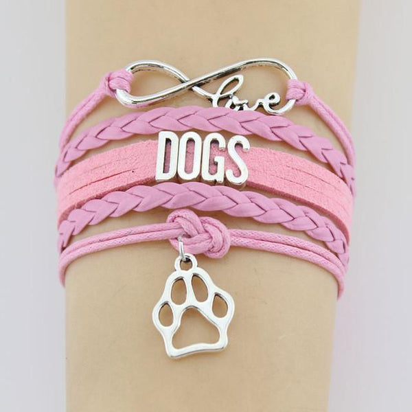 Infinity Love Dogs Leather Bracelet