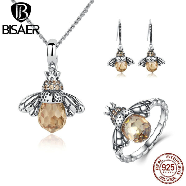 Sterling Orange Bee Jewelry Set